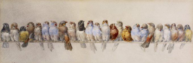 Hector Giacomelli, Een rij vogels, 1880