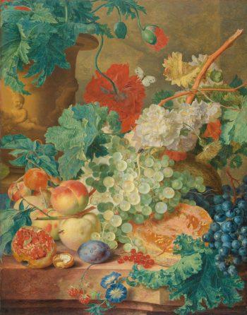 Jan van Huijsum, Stilleven met bloemen en vruchten, circa 1728