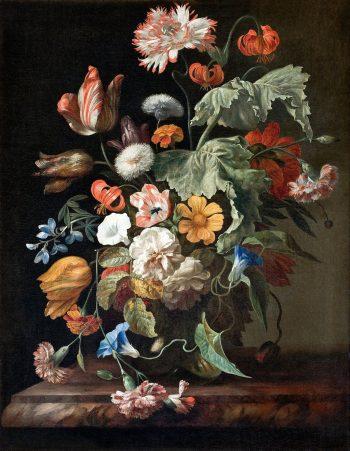 Rachel Ruysch, Stilleven met bloemen en insecten, circa 1720