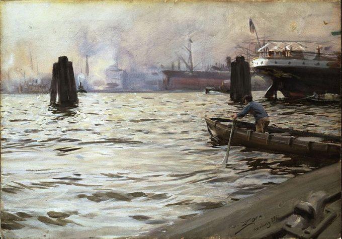 Anders Zorn, de Haven van Hamburg, 1891