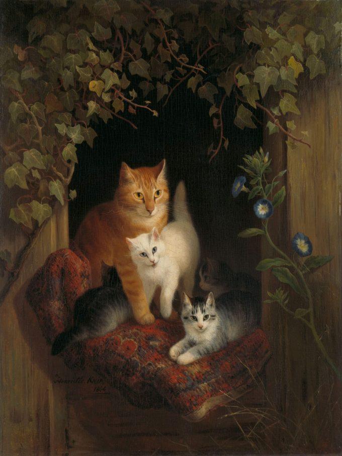Een kat met kittens, Henriëtte Ronner