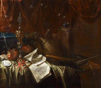 Stilleven met muziekinstrumenten en wijn, Onbekende schilder, circa 1650