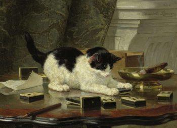 Spelende Een kat, Henriëtte Ronner, c. 1860 – c. 1878