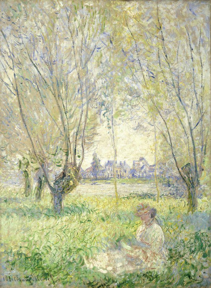 Claude Monet, zittende vrouw onder de wilgen, 1880
