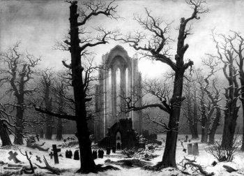 Caspar David Friedrich, Kloosterbegraafplaats in de sneeuw, 1818