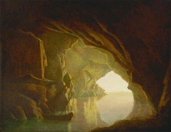 Joseph Wright of Derby, Een grot in de golf van Salerno bij zonsondergang, 1774