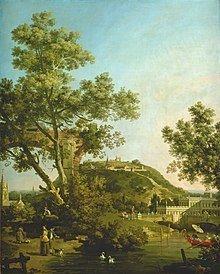 Canaletto, Engels landschap 'Capriccio' met paleis, 1754