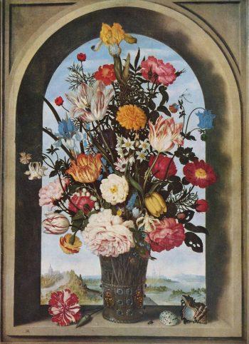 Ambrosius Bosschaert, Vaas met bloemen voor een raam, 1620