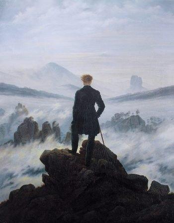 Caspar David Friedrich, Wandelaar boven de nevelen, 1817