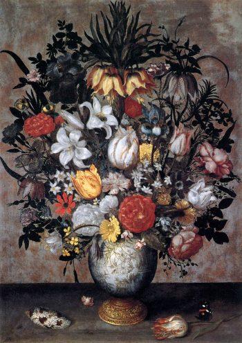 Ambrosius Bosschaert, Chinese vaas met bloemen, schelpen en insecten, 1607