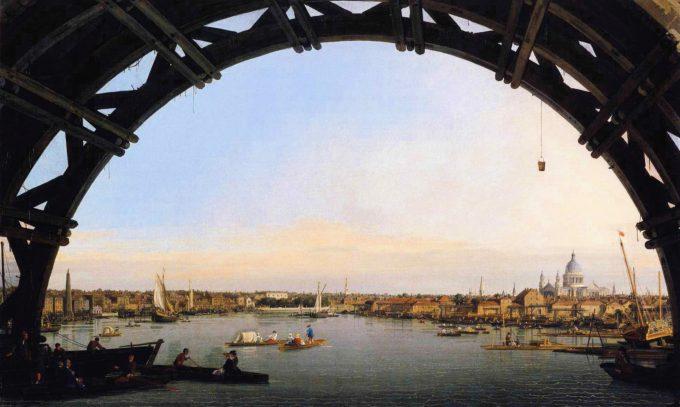 Canaletto, de stad te zien vanaf de Westminster brug, 1746