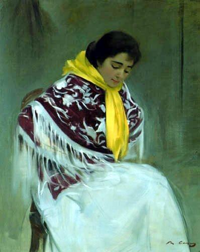 Ramon Casas i Carbó, Vrouw met gele sjaal, 1908