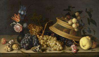 Balthasar van der Ast, Stilleven van bloemen, fruit, schelpen en insecten, 1629