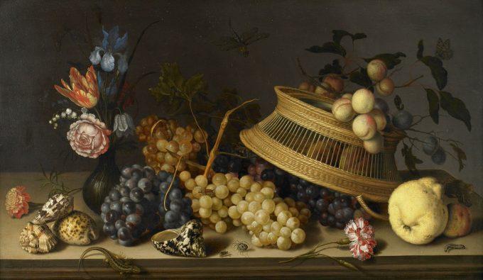 Balthasar van der Ast, Stilleven met bloemen, fruit, schelpen en insecten, 1629