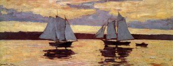 Winslow Homer, Vloot van makreelvissers bij dageraad, 1884