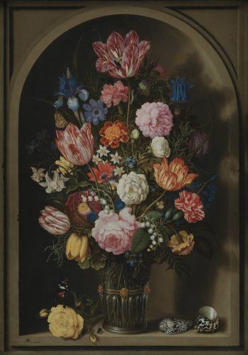Ambrosius Bosschaert, Boeket van bloemen in een stenen nis, 1618