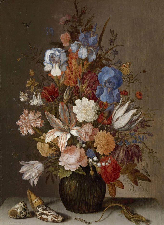 Balthasar van der Ast, Stilleven met bloemen, schelpen en insecten, 1625