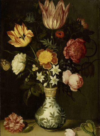 Ambrosius Bosschaert, Stilleven met bloemen in een Wan-Li-vaas, 1619
