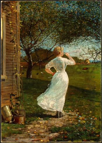 """Winslow Homer, """"Blaas de hoorn bij de zee"""", 1870"""