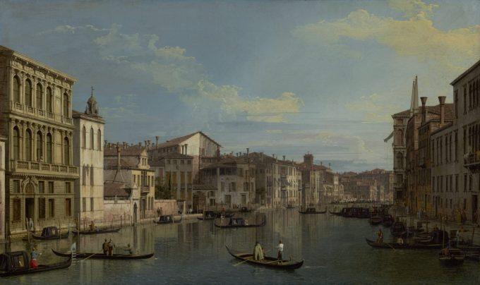 Canaletto, Canal Grande in Venetië, vanaf het paleis Flangini, 1738