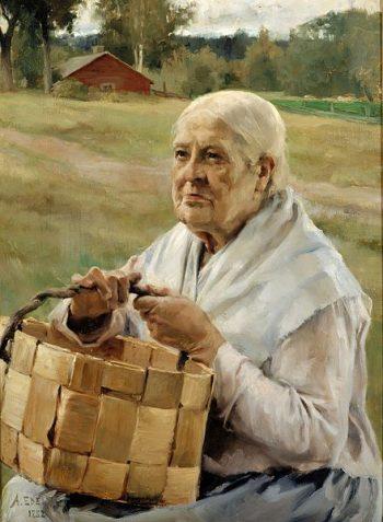 Albert Edelfelt, Oude vrouw met gevlochten mand, 1882