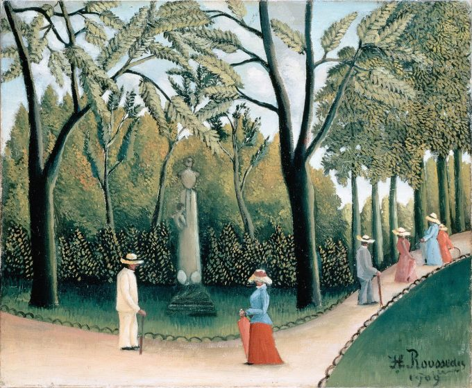 Henri Rousseau, Luxemburgse tuinen - Monument voor Chopin, 1909