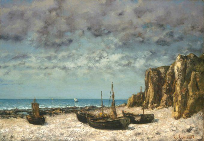 Gustave Courbet, Boten op een strand bij Eretrat, 1869