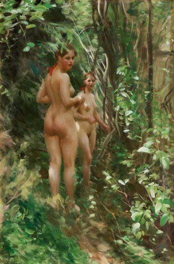 Anders Zorn, Twee naakte vrouwen in het bos, 1908