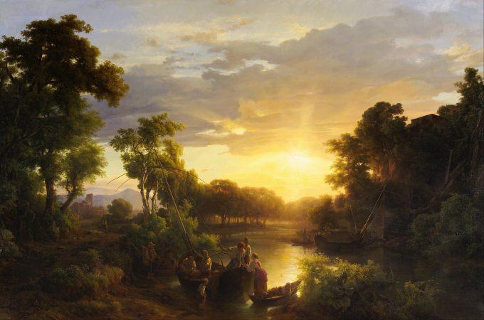 Károly Markó, Italiaans landschap bij zonsondergang met vissers, 1851