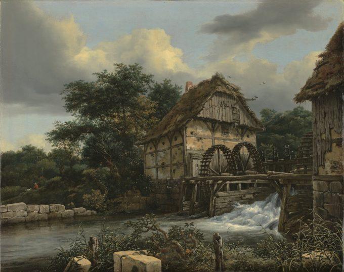 Twee watermolens en een open sluis, Jacob van Ruisdael, 1653