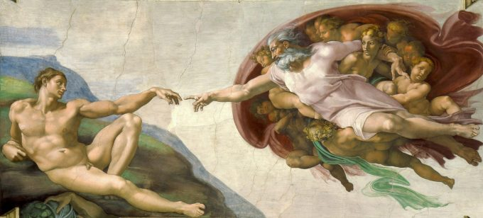 Michelangelo De creatie van Adam scaled