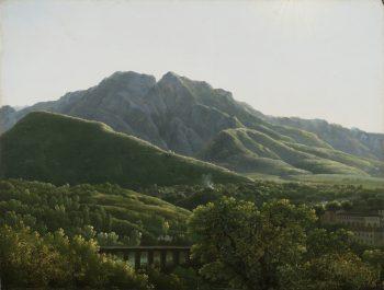 Uitzicht op de brug en een deel van de stad Cava in Napels, Jean Joseph-Xavier Bidauld, 1785–1790