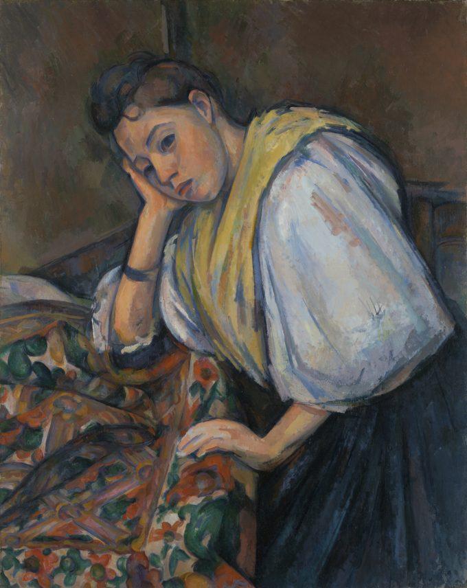 Jonge Italiaanse vrouw aan een tafel, Paul Cézanne, 1895-1900