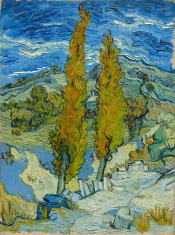 Twee populieren in de Alpilles bij Saint-Rémy, Vincent van Gogh, 1889