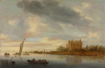 Kasteel aan een rivier, Salomon van Ruysdael, 1644