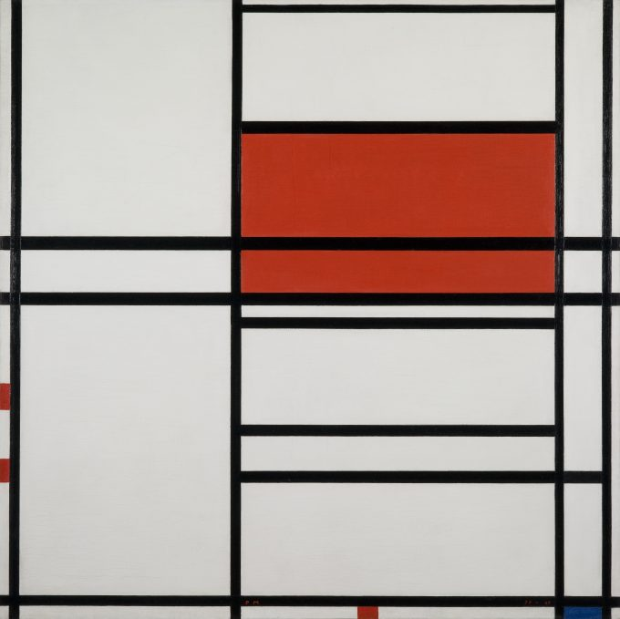 Composition of Red and White: Nom 1/Composition No. 4 with red and blue, Piet Mondriaan, 1938-1942