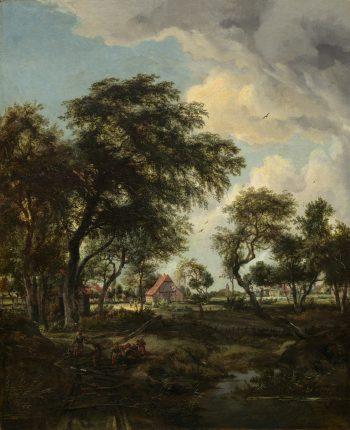 Een boerderij in het zonlicht, Meindert Hobbema, 1668