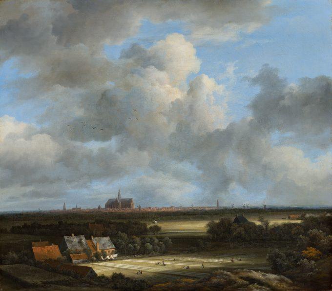 Gezicht op Haarlem met bleekvelden, Jacob van Ruisdael, c. 1670 - 1675