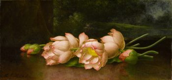 Lotusbloemen met een landschapsschilderij op de achtergrond, Martin Johnson Heade, 1885-1900