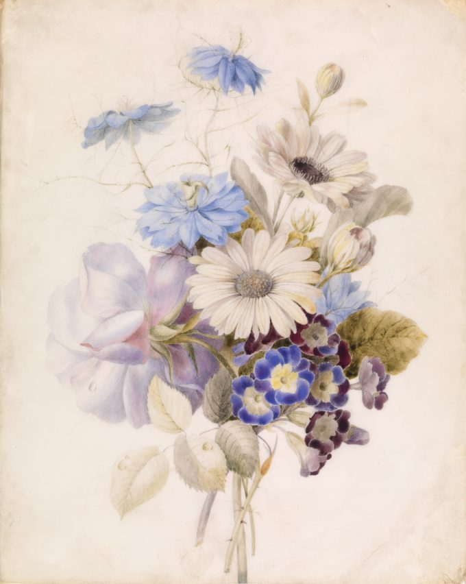 Bloemen met madeliefjes, Onbekende schilder, 1840