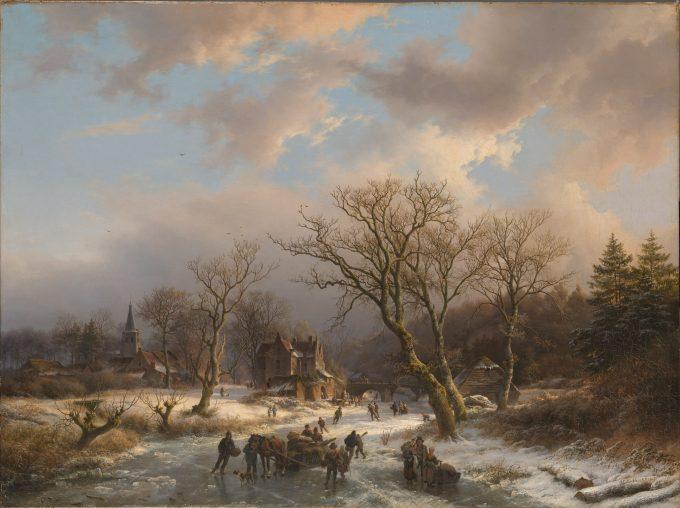 Een dorp en een oud gebouw in een boomrijk landschap aan een bevroren water, Barend Cornelis Koekkoek, 1845
