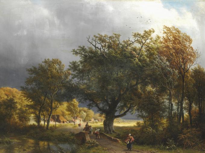 Een zomers landschap met reizigers op een bosweg, Barend Cornelis Koekkoek,1853